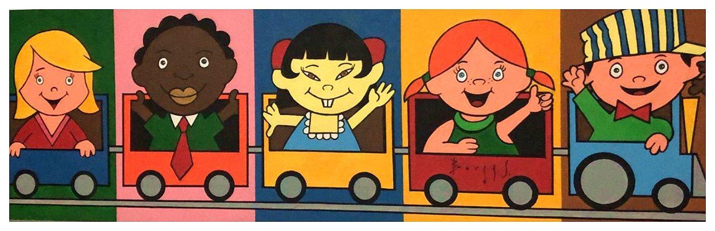 Quadro Pintura Artística 114 - Álvaro Borges filho acrílica sobre tela 30 X 100 Crianças no trem s/ moldura