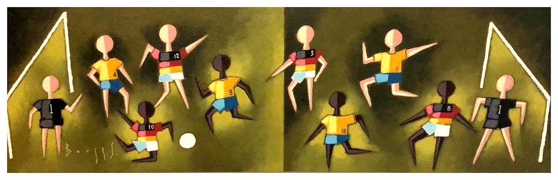 Quadro Pintura Artística 115 - Álvaro Borges Filho acrílica sobre tela 30 X 100 Futebol s/ moldura