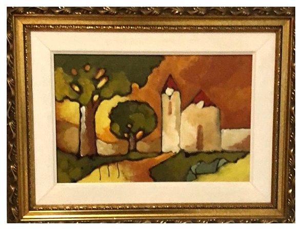 Quadro Pintura Artística 05 - Álvaro Borges Filho acrílica sobre tela 34 X 44 Igreja c/ moldura