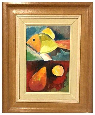 Quadro Pintura Artística  04 - Álvaro Borges Filho acrílica sobre tela 52 X 42 Peixe e frutas c/ moldura