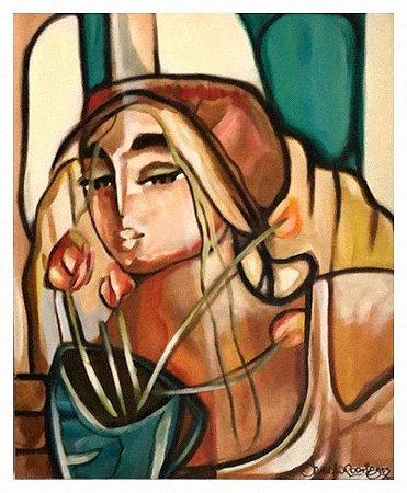 Quadro Pintura Artística 233- Cláudio Rodrigues acrílica sobre tela 60 X 50 Mulher e Tulipa s/ moldura