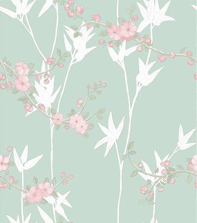 Papel De Parede Diplomata Floral Verde e Rosa 1122-10