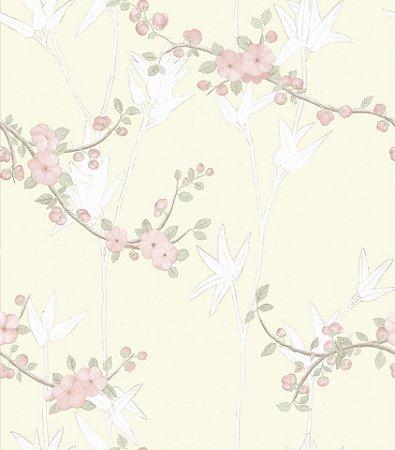Papel De Parede Diplomata Floral Rosa 1122-44