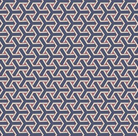 Papel De Parede Diplomata Geometrico Azul e Vermelho 1122-49