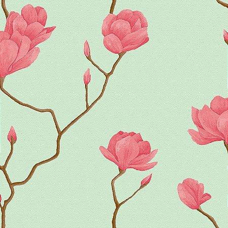 Papel De Parede Natural Floral Rosa e Fundo Verde 1447