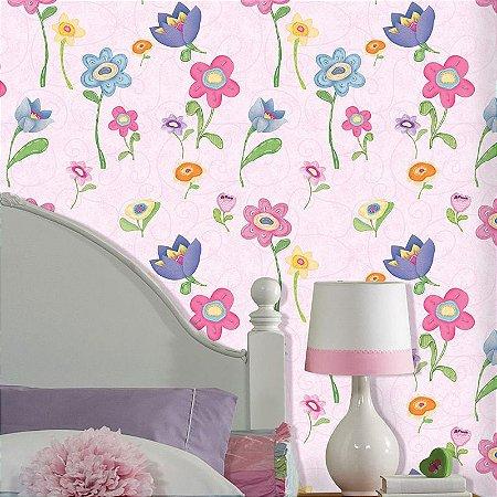 Papel de Parede florido rosa cuentos 7809-2