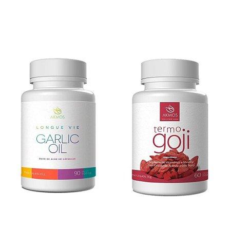 KIt Combate Doenças - Garlic Oil + Termo Goji - Akmos