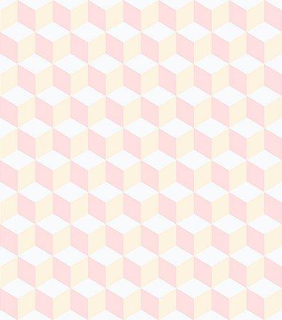 Papel de Parede Infantil Geométrico Cubos Rosa e Branco - Coleção Brincar 3643