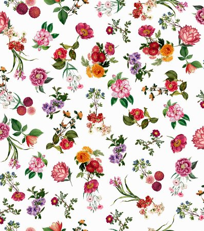 Papel de Parede Infantil Floral Fundo Branco - Coleção Brincar 3651