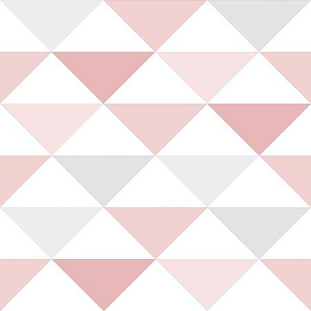 Papel de Parede Infantil Geométrico Rosa e Cinza - Coleção Brincar 3602