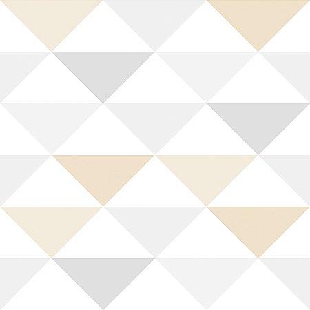 Papel de Parede Infantil Triângulo Cinza e Bege - Coleção Brincar 3603