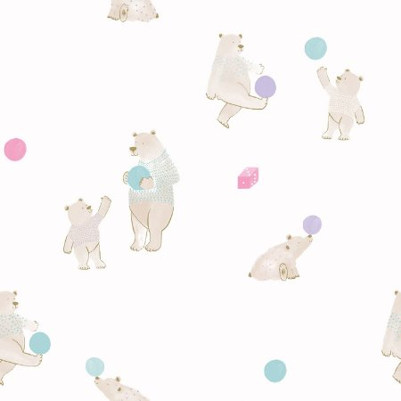 Papel de Parede Infantil Ursinhos Coloridos - Coleção Brincar 3627