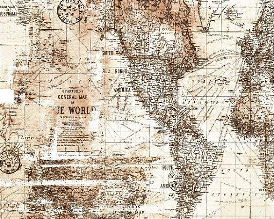Papel de Parede Mapa Marrom - Coleção Brincar 3649