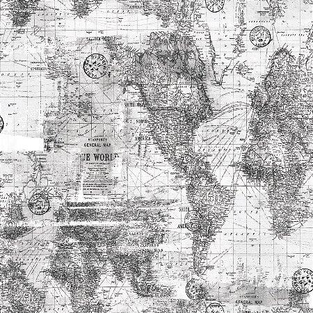Papel de Parede Mapa Cinza - Coleção Brincar 3648