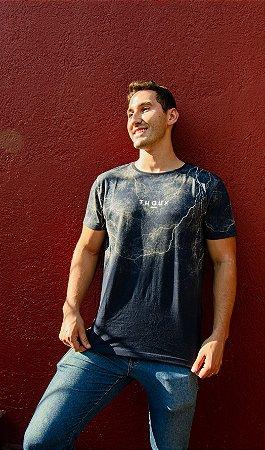 Camiseta Azul Thoux - Malha fio 30/1 Penteado