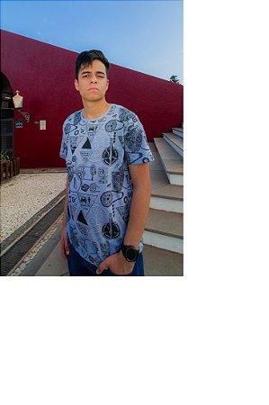 Camiseta Thoux Cinza Estampada