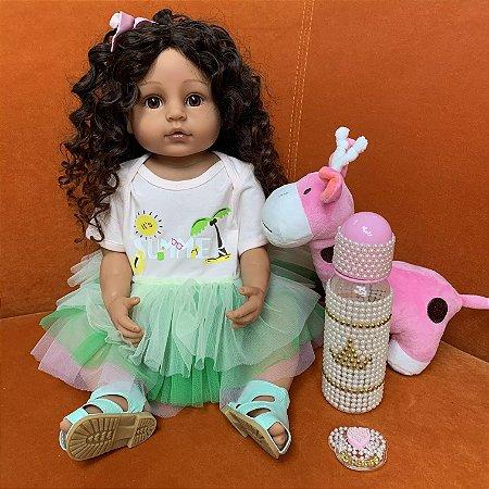 Pronta Entrega - Bebê reborn  100% silicone morena  cabelo cacheado pelúcia reninha pode banhar 55cm