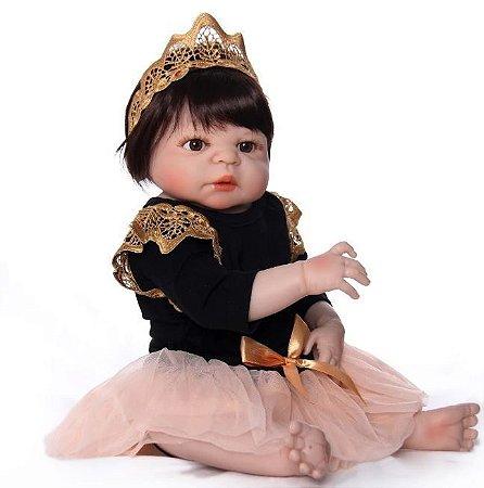 Bebê Reborn menina 100% Silicone, princesa,  57cm
