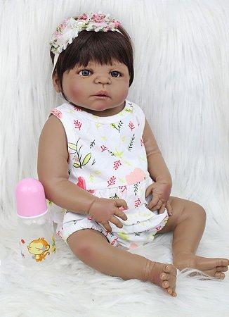 Bebê Reborn 100% Silicone, menina, negra, pode darBanho, 55cm