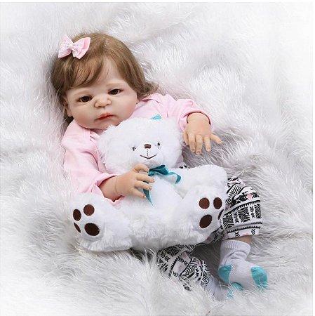 Bebê Reborn 100% Silicone, menina, cabelo implantado, 57cm