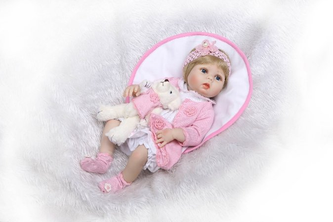 Bebê Reborn 100% Silicone, menina,  57cm
