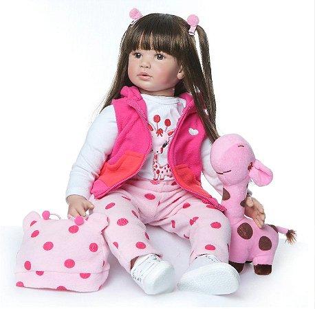 Bebê Reborn, cabelo comprido, corpo de algodão, 60cm, girafinha