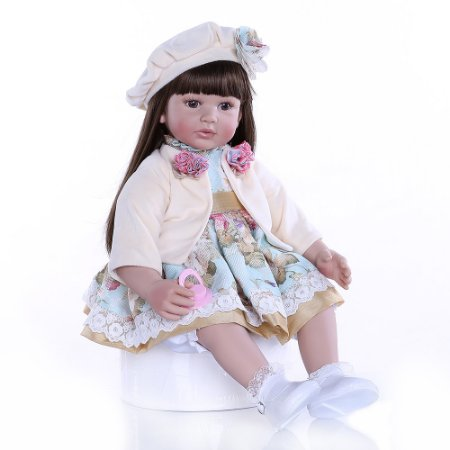Bebê Reborn, cabelo comprido, corpo de algodão, 60cm,Boina