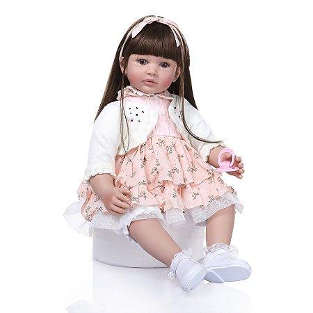 Bebê Reborn, cabelo comprido, corpo de algodão, 60cm,