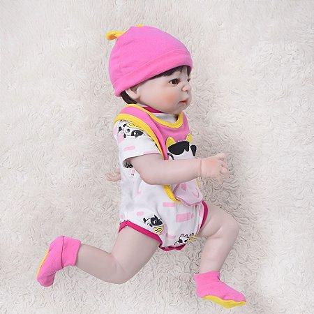Bebê Reborn menina todo em Silicone, 57cm