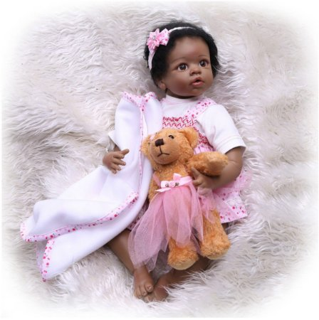 Bebê reborn menina negra, cabelo enraizado, 56cm