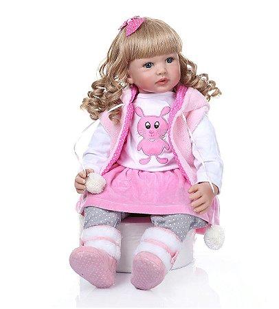 Bebê Reborn, princessa com cabelo comprido e cachos dourados, corpo de algodão, 60cm,  coelho