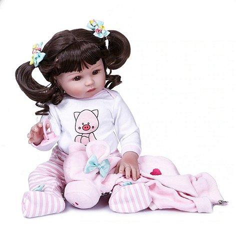 Bebê Reborn 100% Silicone , menina, corpa de porquinha, pode darBanho 48cm