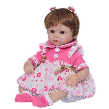 Bebê Reborn menina, corpo em tecido, 42cm
