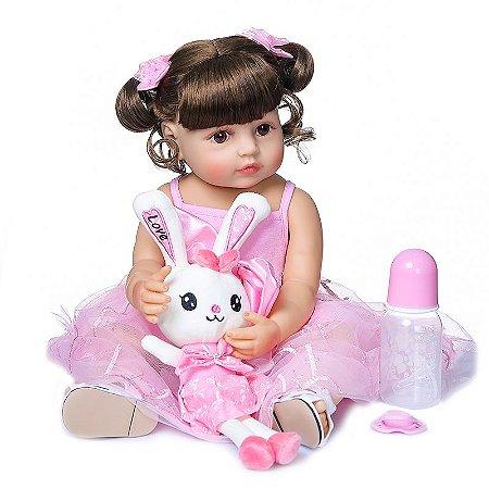 Bebê Reborn 100% silicone , 55cm,  Menina,  vestido de princessa, coelhinha, Pode dar banho