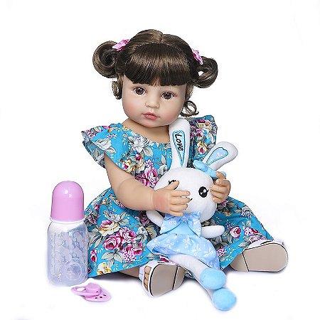 Bebê Reborn 100% silicone , 55cm,  Menina, coelhinha azul, podeBanhar
