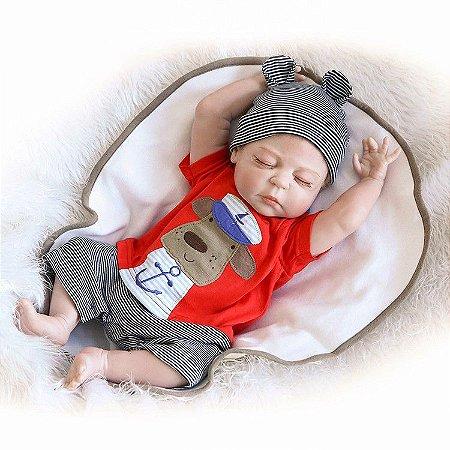 Bebê Reborn menino, recém nascido, 100% Silicone , 47cm