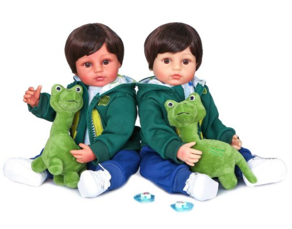 Bebê reborn menino, dinossauro, 100% silicone , 55cm,Branco ou moreno