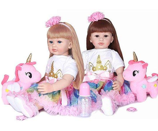 Bebê reborn menina, unicorn, princessa, cabelo comprido, loira ou morena, corpo algodão
