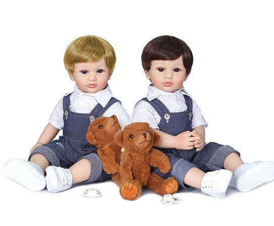 Bebê reborn menino, cachorrinho, 100% silicone , 55cm, loiro ou moreno