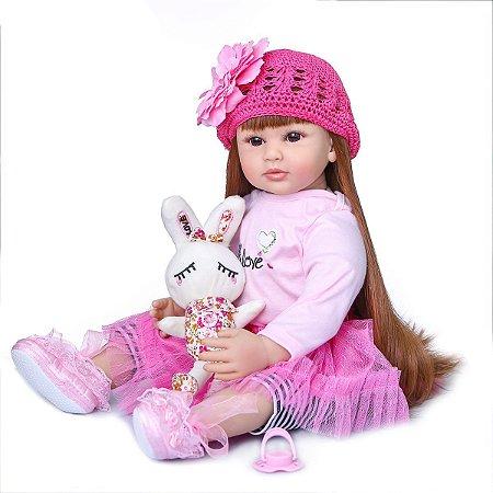 Bebê reborn menina, cabelo comprido, coelhinha, 60cm
