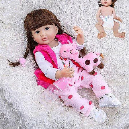 Bebê reborn girafa cabelo comprido, 100% silicone  55cm