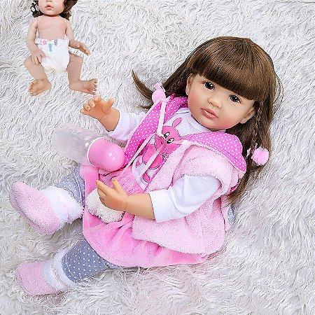 Bebê reborn coelhinho, cabelo comprido, 100% silicone  55cm