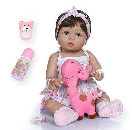 Pronta Entrega- Bebê reborn com girafa 100% silicone  48cm