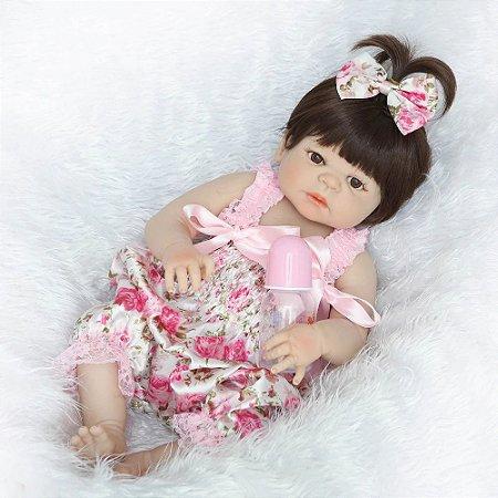 Pronta Entrega - Bebê reborn realista 100% silicone  55cm