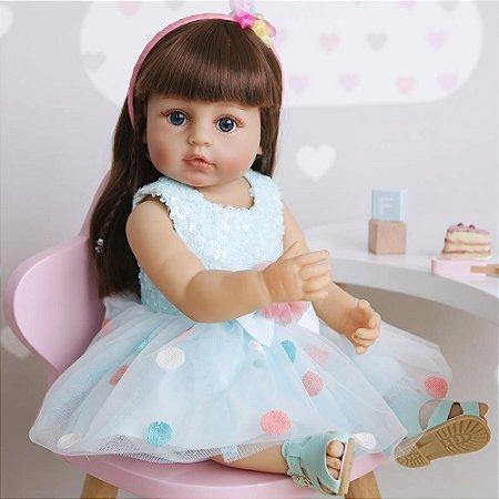 Bebê reborn cabelo comprido, 100% silicone  55cm vestido azul