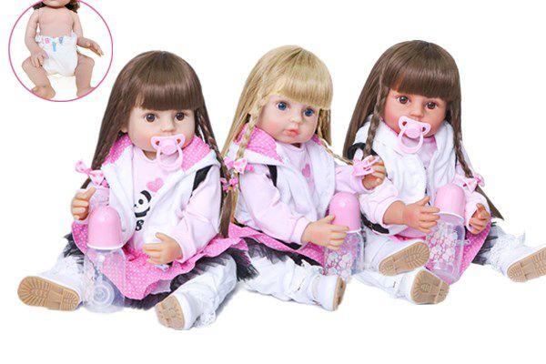 Bebê Reborn Panda, 100% silicone , 55cm, pele morena/branca, cabelo morena/loira, cabelo comprido,