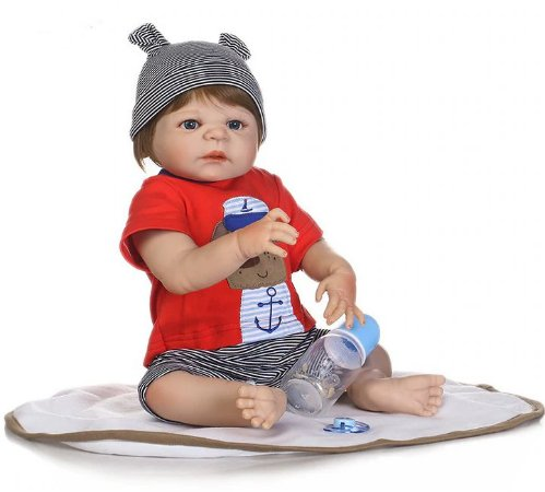 Bebê reborn menino 100% silicone  47cm, conjunto de roupa cachorro de marinho