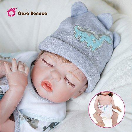 Bebê reborn menino, 100% silicone, recém nascido, 48cm