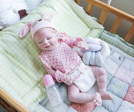 Bebê reborn menina, 100% silicone, recém nascido,  56cm, sorriso realista