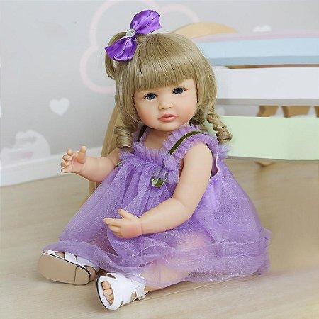 Bebê reborn menina, 100% silicone, cabelo comprido, vestido roxo,  55cm, loira ou morena
